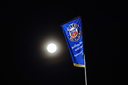 A Bath Rugby flag on a full moon - Mandatory byline: Patrick Khachfe/JMP - 07966 386802 - 10/01/2020 - RUGBY UNION - The Recreation Ground - Bath, England - Bath Rugby v Harlequins - Heineken Champions Cup