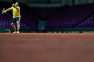 Patrick Rafter - captain of Australia team while trening session four days before the BNP Paribas Davis Cup 2013 between Poland and Australia at Torwar Hall in Warsaw on September 09, 2013.<br /> <br /> Poland, Warsaw, September 09, 2013<br /> <br /> Picture also available in RAW (NEF) or TIFF format on special request.<br /> <br /> For editorial use only. Any commercial or promotional use requires permission.<br /> <br /> Photo by © Adam Nurkiewicz / Mediasport