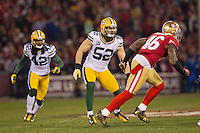 12 January 2013: Linebacker (52) Clay Matthews of the Green Bay Packers against the San Francisco 49ers during the first half of the 49ers 45-31 victory over the Packers in an NFL Divisional Playoff Game at Candlestick Park in San Francisco, CA.