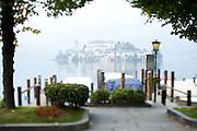 The island monastery of Isola San Giulio on Lake Orta as seen from Orta San Giulio, Piedmont, Italy.