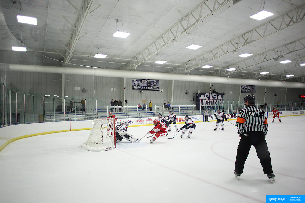 Rebecca Russo, scores for Boston University during the UConn Vs Boston University, Women's Ice Hockey game at Mark Edward Freitas Ice Forum, Storrs, Connecticut, USA. 5th December 2015. Photo Tim Clayton