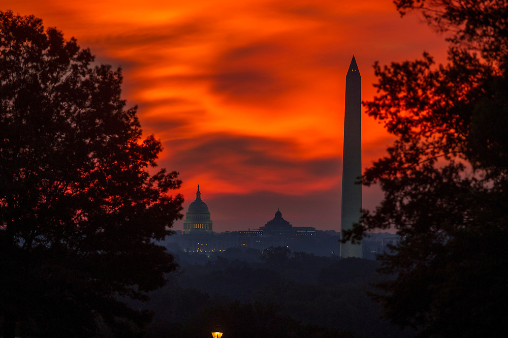 The sun rises over Washington on Monday, Oct. 1st, 2012.