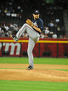 May 19 2011; Phoenix, AZ, USA; Atlanta Braves pitcher Scott Linebrink (19) pitches during the eighth inning against the Arizona Diamondbacks at Chase Field. The Diamondbacks defeated the Braves 2-1. Mandatory Credit: Jennifer Stewart-US PRESSWIRE..