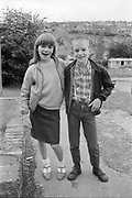 Fiona Parsloe and Neville standing side by side, High Wycombe, UK, 1980s.