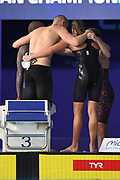 Jezremy Stravius, Mehdy Metella, Marie Wattel and Charlotte Bonnet for France compet and win the Gold medal on 4X100 m Freestyle Relay Mixed during the Swimming European Championships Glasgow 2018, at Tollcross International Swimming Centre, in Glasgow, Great Britain, Day 7, on August 8, 2018 - Photo Stephane Kempinaire / KMSP / ProSportsImages / DPPI