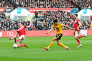 Morgan Gibbs-White (17) of Wolverhampton Wanderers shoots at goal during the The FA Cup 5th round match between Bristol City and Wolverhampton Wanderers at Ashton Gate, Bristol, England on 17 February 2019.
