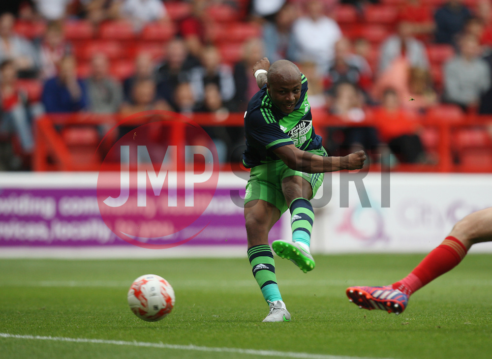 Andre Ayew of Swansea City scores his sides first goal<br /> <br />  - Mandatory by-line: Jack Phillips/JMP - 25/07/2015 - SPORT - FOOTBALL - Nottingham - The City Ground - Nottingham Forest v Swansea - Pre-Season Friendly