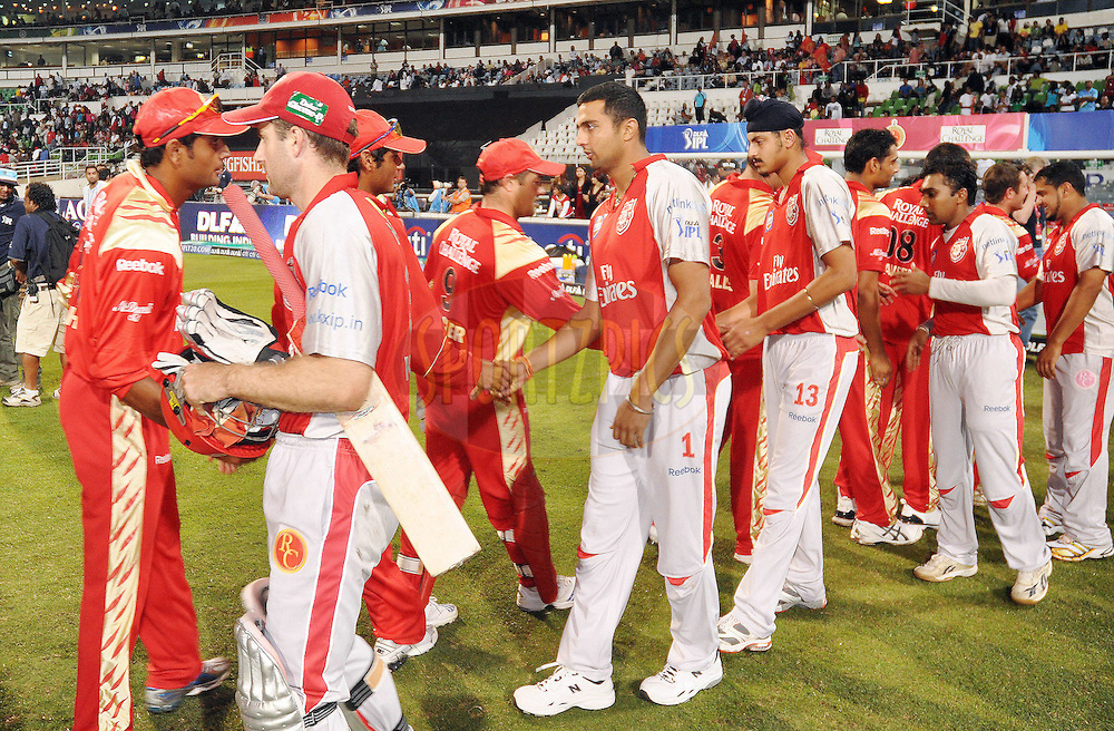 DURBAN, SOUTH AFRICA - 1 Mayl 2009. Handshakes after  the IPL Season 2 match between Kings X1 Punjab and the Royal Challengers Bangalore held at Sahara Stadium Kingsmead, Durban, South Africa..
