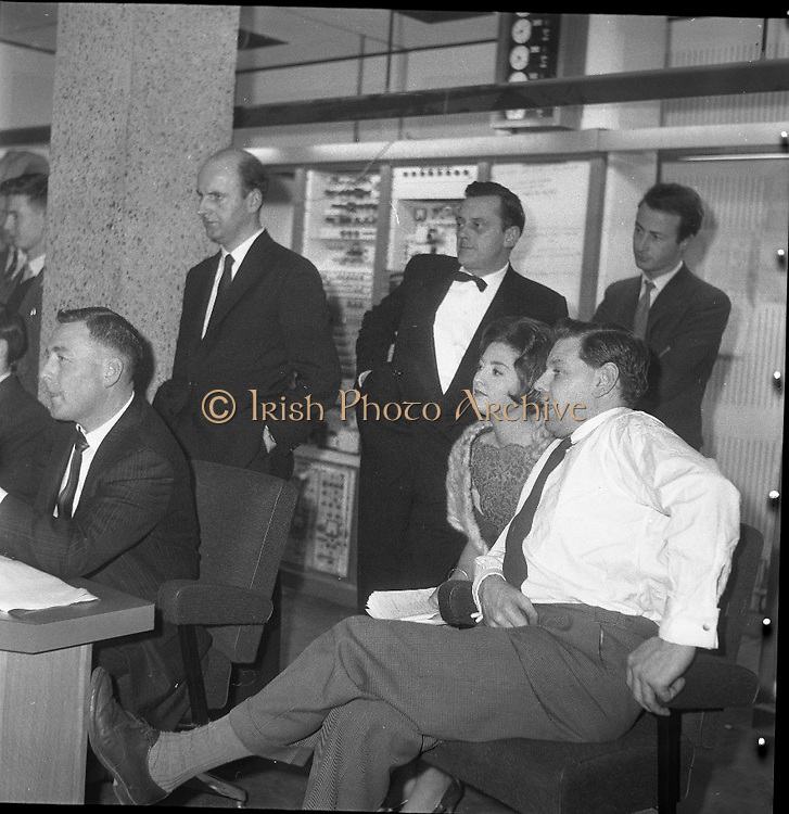 Inauguration of Teilifís Eireann, Montrose..1961..31.12.1961..12.31.1961..31st December 1961..Today saw the inaugeration and official opening of Telifís Éireann. Many dignitaries from the political,religious and entertainment life attended at the ceremony. ..Image shows Telifís Éireann producers and background staff  preparing for the initial broadcast to be shown.