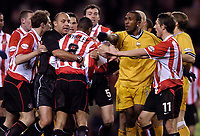 Photo. Jed Wee, Digitalsport<br /> Sunderland v Preston North End, Nationwide League Division One, Stadium of Light, Sunderland. 10/03/2004.<br /> Tempers flare as Sunderland's Jeff Whitley (8) has to be restrained after throwing a punch at a Preston player.