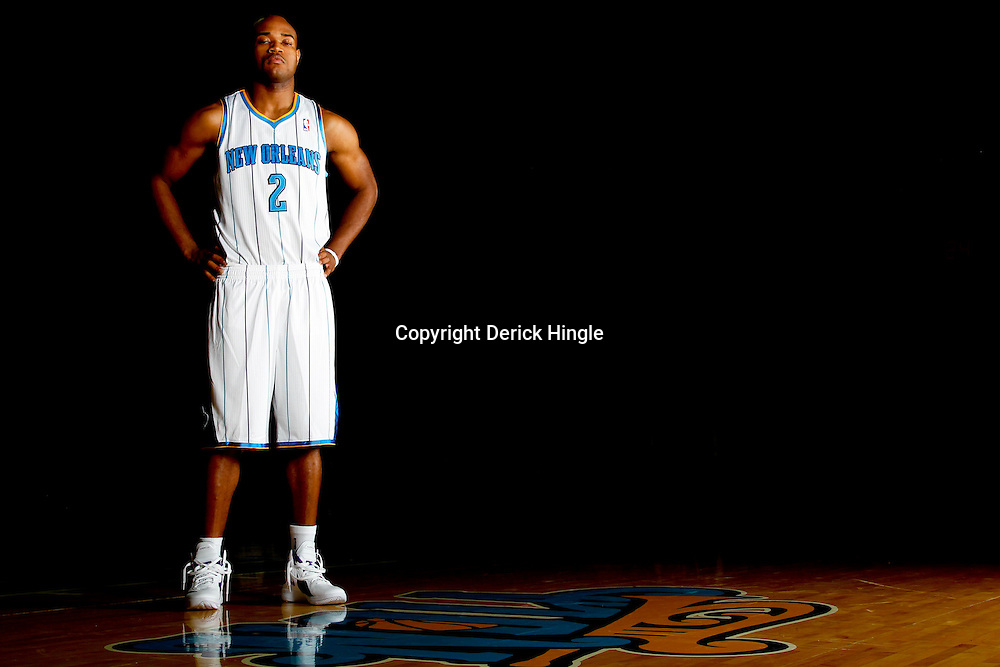 December 14, 2011; New Orleans, LA, USA; New Orleans Hornets guard Jarrett Jack (2) poses for a photo during Media Day at the New Orleans Arena.   Mandatory Credit: Derick E. Hingle-US PRESSWIRE