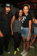 August 25, 2012-Brooklyn, NY: Recording Artist Bazaar Royale, DJ Beverly Bond, and Recording Artist Alice Smith backstage at the Afropunk Festival 2012 held in Brooklyn, NY on August 25, 2012. The Afropunk Festival has become a Brooklyn intuition, the focal point for the burgeoning Afro-punk movement. Over the past seven years, the festival has presented new artists before they hit it big, such as Grammy-nominated Santigold, The Noisettes and Janelle Monae. Afro-punk mainstays like Saul Williams, The Dirtbombs, and Dallas Austin have also graced Afro-punk's stages. (Terrence Jennings/TerrenceJennings.com)