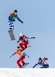 PYEONGCHANG, SOUTH KOREA - FEBRUARY 16:  Michela Moioli #2 of Italy, Julia Pereira de Sousa Marileau #15 of France, Chloe Trespeuch #6 of the United States, Lindsey Jacobellis #4 of the United States during the Ladies' Snowboard Cross on day seven of the PyeongChang 2018 Winter Olympic Games at Phoenix Snow Park on February 16, 2018 in Pyeongchang-gun, South Korea. Photo by Ronald Hoogendoorn / Sportida