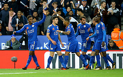 Demarai Gray of Leicester City celebrates with teammates after his cross is diverted by Jonjoe Kenny of Everton into his own goal to make it 2-0 - Mandatory by-line: Robbie Stephenson/JMP - 29/10/2017 - FOOTBALL - King Power Stadium - Leicester, England - Leicester City v Everton - Premier League