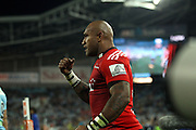 Nemani Nadolo celebrates. NSW Waratahs v Canterbury Crusaders. Sport Rugby Union Super Rugby Representative Provincial. ANZ Stadium. 23 May 2015. Photo by Paul Seiser/SPA Images