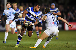 Semesa Rokoduguni of Bath Rugby looks to pass the ball - Photo mandatory by-line: Patrick Khachfe/JMP - Mobile: 07966 386802 12/12/2014 - SPORT - RUGBY UNION - Bath - The Recreation Ground - Bath Rugby v Montpellier - European Rugby Champions Cup