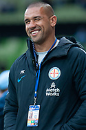 Melbourne City assistant coach Tony Vidmar smiles on at the Hyundai A-League Round 6 soccer match between Melbourne City FC and Newcastle Jets at AAMI Park in Melbourne.