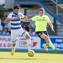 Ricki Lamie (Morton FC)  and Jason Cummings (Hibernian)  during the Ladbrokes Championship match between Greenock Morton &amp; Hibernian at Cappielow Stadium on 8 April 2017<br /> <br /> Picture: Alan Rennie