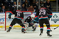 KELOWNA, CANADA - DECEMBER 5:  James Porter #1 of the Kelowna Rockets makes a save against the Tri-City Americans on December 5, 2018 at Prospera Place in Kelowna, British Columbia, Canada.  (Photo by Marissa Baecker/Shoot the Breeze)