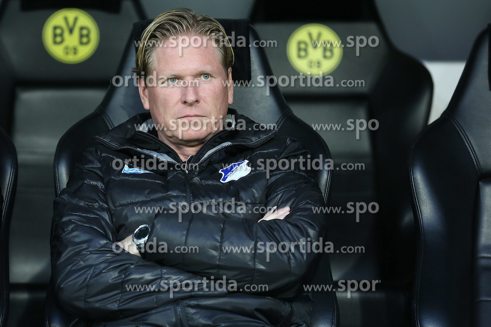 07.04.2015, Signal Iduna Park, Dortmund, GER, DFB Pokal, Borussia Dortmund vs TSG 1899 Hoffenheim, Viertelfinale, im Bild Trainer Markus Gisdol (TSG 1899 Hoffenheim) auf der Ersatzbank // during German DFB Pokal quarter final match between Borussia Dortmund and TSG 1899 Hoffenheim at the Signal Iduna Park in Dortmund, Germany on 2015/04/07. EXPA Pictures &copy; 2015, PhotoCredit: EXPA/ Eibner-Pressefoto/ Schueler<br /> <br /> *****ATTENTION - OUT of GER*****