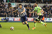Millwall striker Lee Gregory (9) with a shot on goal during the The FA Cup 3rd round match between Millwall and Bournemouth at The Den, London, England on 7 January 2017. Photo by Matthew Redman.