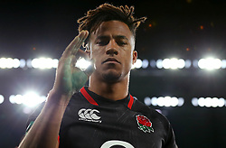 Anthony Watson of England gives an okay sign after his side beat Argentina - Mandatory by-line: Robbie Stephenson/JMP - 11/11/2017 - RUGBY - Twickenham Stadium - London, England - England v Argentina - Old Mutual Wealth Series