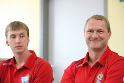 Alexey Peskov and Edi Koksarov at press conference of handball club RK Celje Pivovarna Lasko before new season 2008/2009, on September 2, 2008 in Celje, Slovenia. (Photo by Vid Ponikvar / Sportal Images)