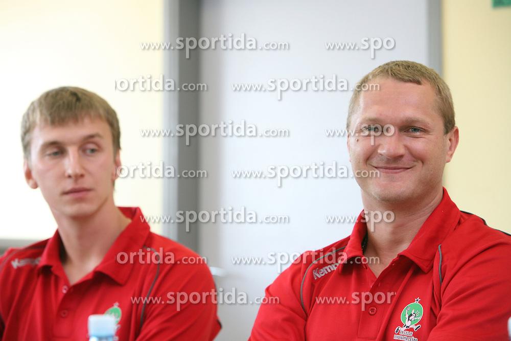 Alexey Peskov and Edi Koksarov at press conference of handball club RK Celje Pivovarna Lasko before new season 2008/2009, on September 2, 2008 in Celje, Slovenia. (Photo by Vid Ponikvar / Sportal Images)