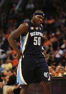 Nov. 5 2010; Phoenix, AZ, USA; Memphis Grizzlies forward Zach Randolph (50) reacts on the court against the Phoenix Suns at the US Airways Center.  The Suns defeated the Memphis Grizzlies in double over time 123 - 118.  Mandatory Credit: Jennifer Stewart-US PRESSWIRE...