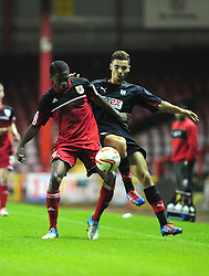 Bristol City U21's Kevin Karns battles for the ball - Photo mandatory by-line: Dougie Allward/Josephmeredith.com  - Tel: Mobile:07966 386802 04/09/2012 - SPORT - FOOTBALL - Professional Development League -  Bristol  - Ashton Gate -  Bristol City U21s v Brentford U21s