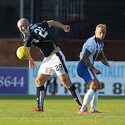 Dundee&rsquo;s Gary Harkins beats Kilmarnock&rsquo;s Kallum Higginbotham in the air  - Dundee v Kilmarnock, Ladbrokes Premiership at Dens Park <br /> <br />  - &copy; David Young - www.davidyoungphoto.co.uk - email: davidyoungphoto@gmail.com