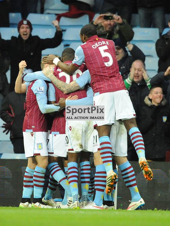 Villa Celebrate First Goal, Aston Villa v Bournemouth, FA Cup 4th Round, Villa Park, Sunday 25th January 2015