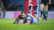 Adam Cuthbertson of Leeds Rhinos  scores the 1st try of the game against Hull Kingston Rovers during the Betfred Super League match at Elland Road, Leeds<br /> Picture by Stephen Gaunt/Focus Images Ltd +447904 833202<br /> 08/02/2018