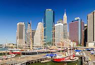 South Street Seaport, Lower Manhattan Skyline, New York City, New York, USA