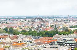 THEMENBILD - Das Wiener Riesenrad ist ein 64.75 Meter großes Riesenrad am Eingang zum Freizeitpark Prater in Leopoldstadt, dem 2. Bezirk von Österreichs Hauptstadt Wien. Es ist eines der populärsten Touristenziele in Wien und ist eines der Wahrzeichen der Stadt. Es wurde 1897 gebaut und war von 1920 bis 1965 das größte Riesenrad der Welt, im Bild das Riesenrad. Aufgenommen vom Uniqa Tower am 06. Juni 2017 // The Wiener Riesenrad (German for Vienna Giant Wheel) is a 64.75-metre tall Ferris wheel at the entrance of the Prater amusement park in Leopoldstadt, the 2nd district of Austria's capital Vienna. It is one of Vienna's most popular tourist attractions, and symbolises the district as well as the city for many people. Constructed in 1897, it was the world's tallest extant Ferris wheel from 1920 until 1985, This picture was taken from the Uniqa Tower and shows the Riesenrad, Vienna, Austria on 2017/06/06. EXPA Pictures © 2017, PhotoCredit: EXPA/ Sebastian Pucher