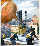 Paris firemen on the rooftops trying to capture a balloon with its ropes entangled round  chimney pots and to rescue the aviator in the basket. From 'Le Petit Journal', 28 May 1894. Aviation Aeronautics Ballooning Accident