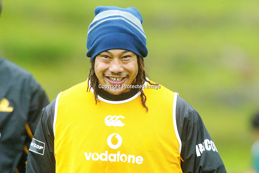 Lion's Tana Umaga during Lion's training for the final against Canterbury on Monday afternoon in Wellington. 18 October 2004<br />
