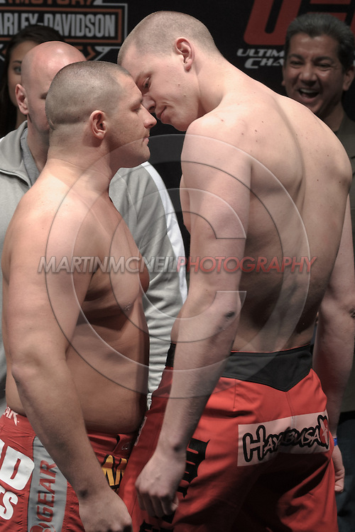 "COLOGNE, GERMANY, JUNE 12, 2009: Denis Stojnic (left) and Stefan Struve face off at the official weigh-in for ""UFC 99: The Comeback"" inside LanXess Arena in Cologne, Germany on June 12, 2009"