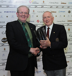 Sean O&rsquo;Malley presented Martin Keane with his Westport Lions club Clew Bay People of the Year Award.<br /> Pic Conor McKeown