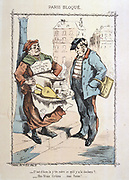 Franco-Prussian War 1870-1871: Siege of Paris 19 Sept 1870-28 Jan 1871.  National Guardsman does not fancy the delicacy the street  vendor is offering - dog offal.  From 'Paris Bloque', Faustin Betbeder.  France Germany Food Shortage Hunger