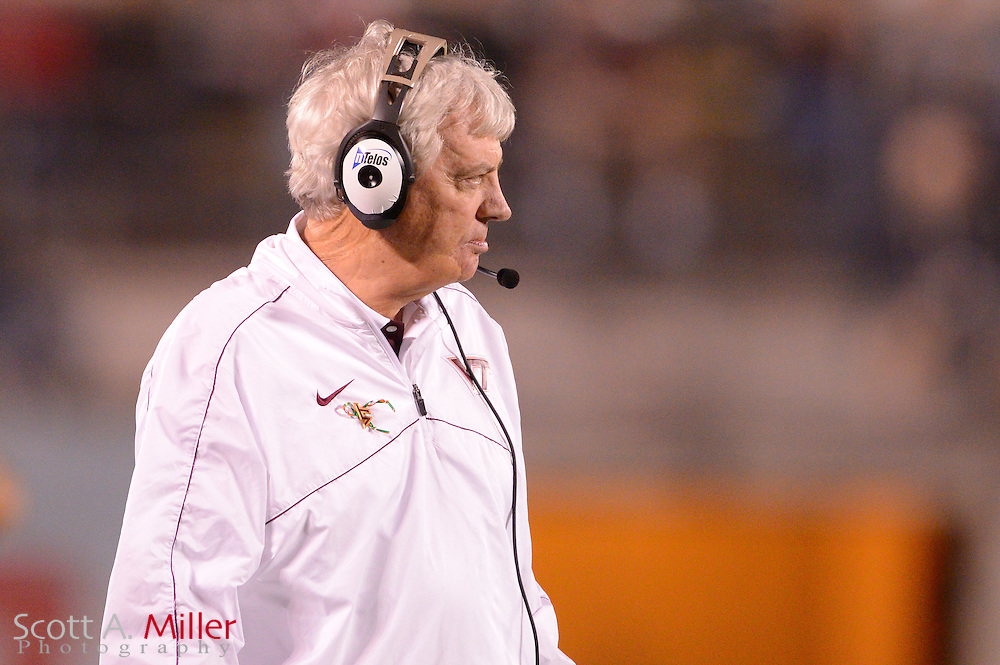 Virginia Tech Hokies head coach Frank Beamer during the Hokies 13-10 overtime win over the Rutgers Scarlet Knights in the Russell Athletic Bowl on Dec 28, 2012 in Orlando, Florida. ..©2012 Scott A. Miller..