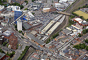 aerial photograph of Leicester station  Leicestershire  England UK