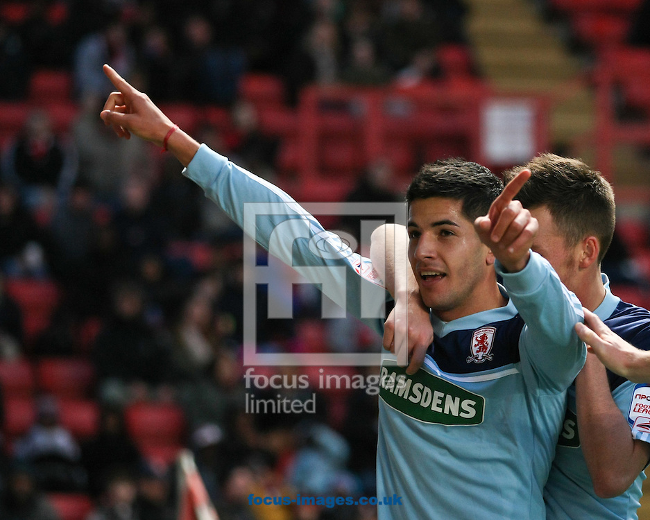 Picture by David Horn/Focus Images Ltd +44 7545 970036.03/11/2012.Emmanuel Ledesma of Middlesbrough celebrates scoring during the npower Championship match at The Valley, London.