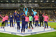 IAAF Diamond League winners Elaine Thompson (JAM), Dalilah Muhammad (USA), Mariya Lasitskene aka Mariya Kuchina (RUS), Sandra Perkovic (CRO), Ivana Spanovic (SRB),Faith Kipyegon (KEN), Hellen Obiri (KEN), Sergey Shubenkov (RUS), Shaunae Miller-Uibo (BAH), Katerina Stefanidi (GRE), Noah Lyles (USA), Nijel Amos (BOT), Darrell Hill (USA) and Christian Taylor (USA) pose during the 42nd Memorial Van Damme in an IAAF Diamond League meet at King Baudouin Stadium in Brussels, Belgium on Friday, September 1, 2017. (Jiro Mochizuki/Image of Sport)