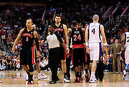 Mar. 23, 2011; Phoenix, AZ, USA; Toronto Raptors guard Jerryd Bargnani (5) reacts on the court after having words with Phoenix Suns forward Channing Frye (not pictured) at the US Airways Center. The Suns defeated the Raptors 114-106. Mandatory Credit: Jennifer Stewart-US PRESSWIRE