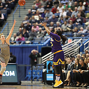 HARTFORD, CONNECTICUT- JANUARY 4: Antoinette Bannister #25 of the East Carolina Lady Pirates shoots while defended by Katie Lou Samuelson #33 of the Connecticut Huskies during the UConn Huskies Vs East Carolina Pirates, NCAA Women's Basketball game on January 4th, 2017 at the XL Center, Hartford, Connecticut. (Photo by Tim Clayton/Corbis via Getty Images)