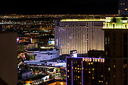 Elevated view of The Strip, Las Vegas, Nevada, USA. at night with illuminated buildings