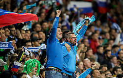 Supporters of Slovenia during the 2020 UEFA European Championships group G qualifying match between Slovenia and Israel at SRC Stozice on September 9, 2019 in Ljubljana, Slovenia. Photo by Matic Klansek Velej / Sportida
