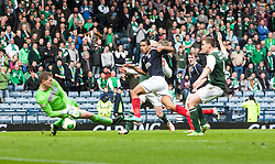 Falkirk's Lyle Taylor misses a chance in the last minutes of extra time..Hibernian 4 v 3 Falkirk, William Hill Scottish Cup Semi Final, Hampden Park..©Michael Schofield..