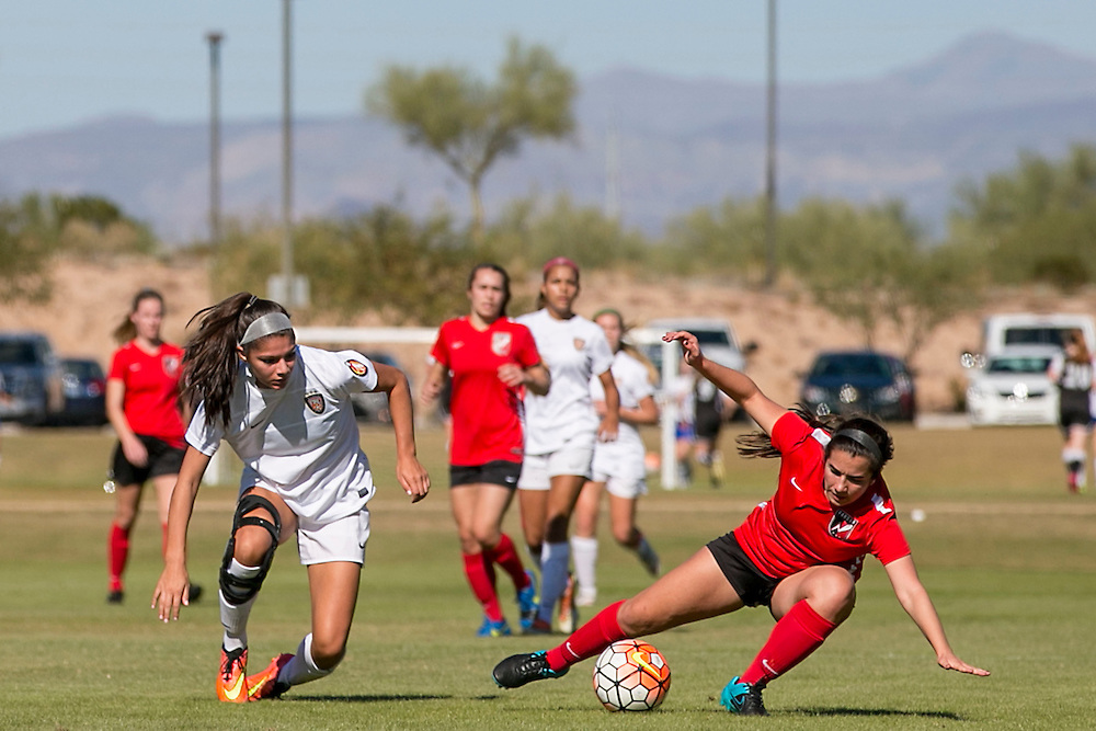 November 14, 2015, Phoenix, Arizona:<br /> Game action during an Elite Clubs National League (ECNL) tournament at Reach 11 Sports Complex in Phoenix, Arizona Saturday, November 14, 2015.<br /> (Photo by Billie Weiss/Elite Clubs National League)